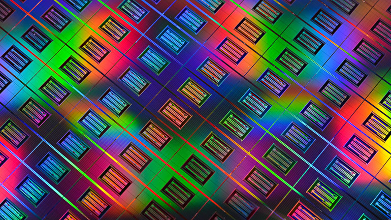 Closeup of HP's Memristor devices on a 300mm wafer.
