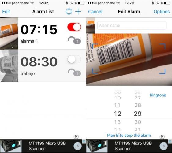 Alarma que sólo se apaga si escaneas un código de barras